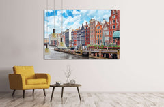 Beautiful views of the streets, ancient buildings, people, embankments of Amsterdam - also call Venice in the North. Netherland №2303 Ready to Hang Canvas Print