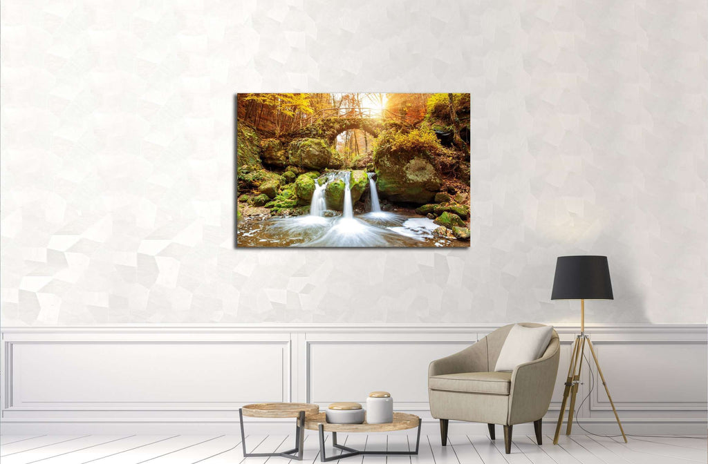 Beautiful waterfalls in the Mullerthal region in Luxembourg №3080 Ready to Hang Canvas Print