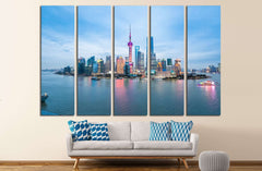 beauty of the east China metropolis ,shanghai skyline in nightfall №2311 Ready to Hang Canvas Print