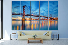 Ben Franklin Bridge, Philadelphia №992 Ready to Hang Canvas Print