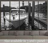 berthed boat on canal in Venice in a sunny day №1414 Ready to Hang Canvas Print