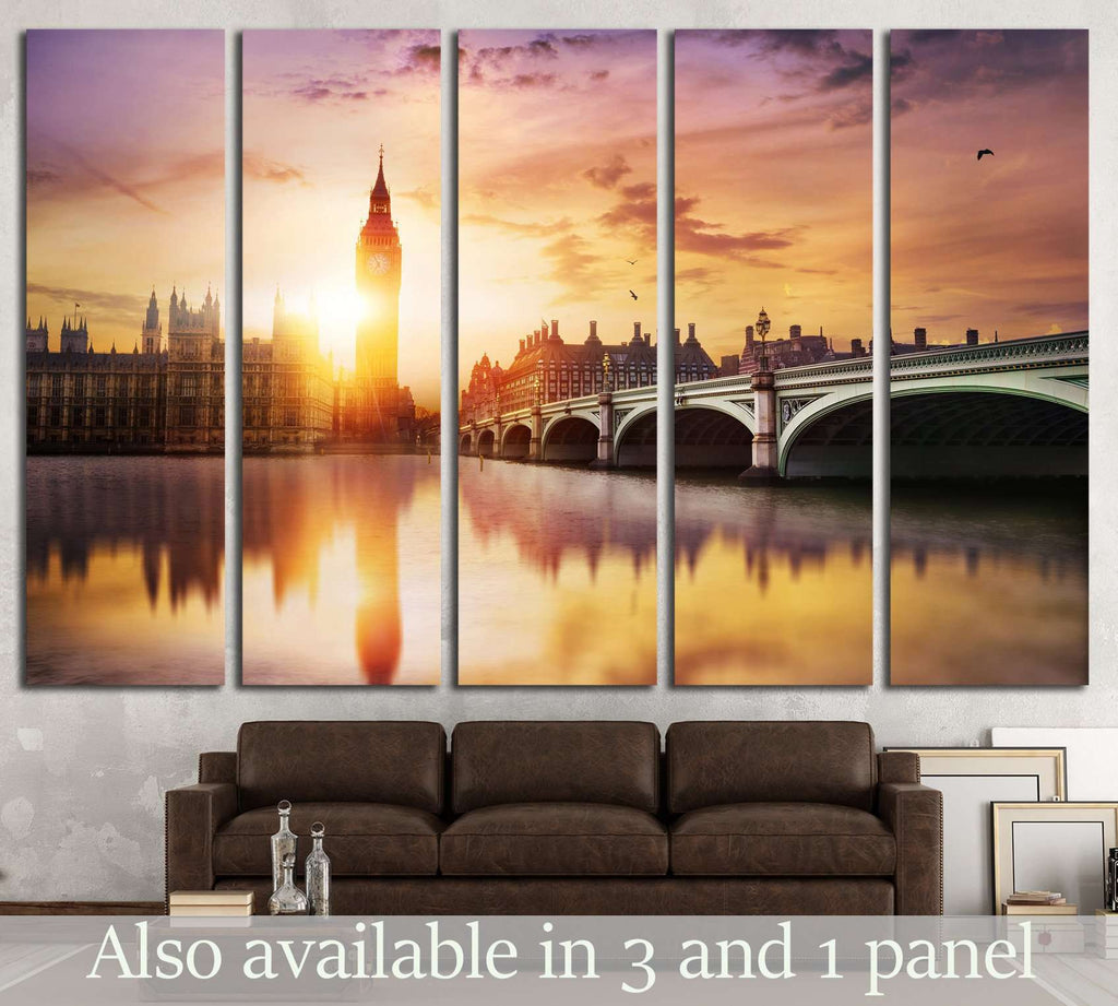 Big Ben and Westminster Bridge №560 Ready to Hang Canvas Print