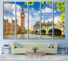 Big Ben at summer, London №561 Ready to Hang Canvas Print
