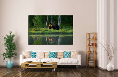 Big brown bear walking around lake №1329 Ready to Hang Canvas Print