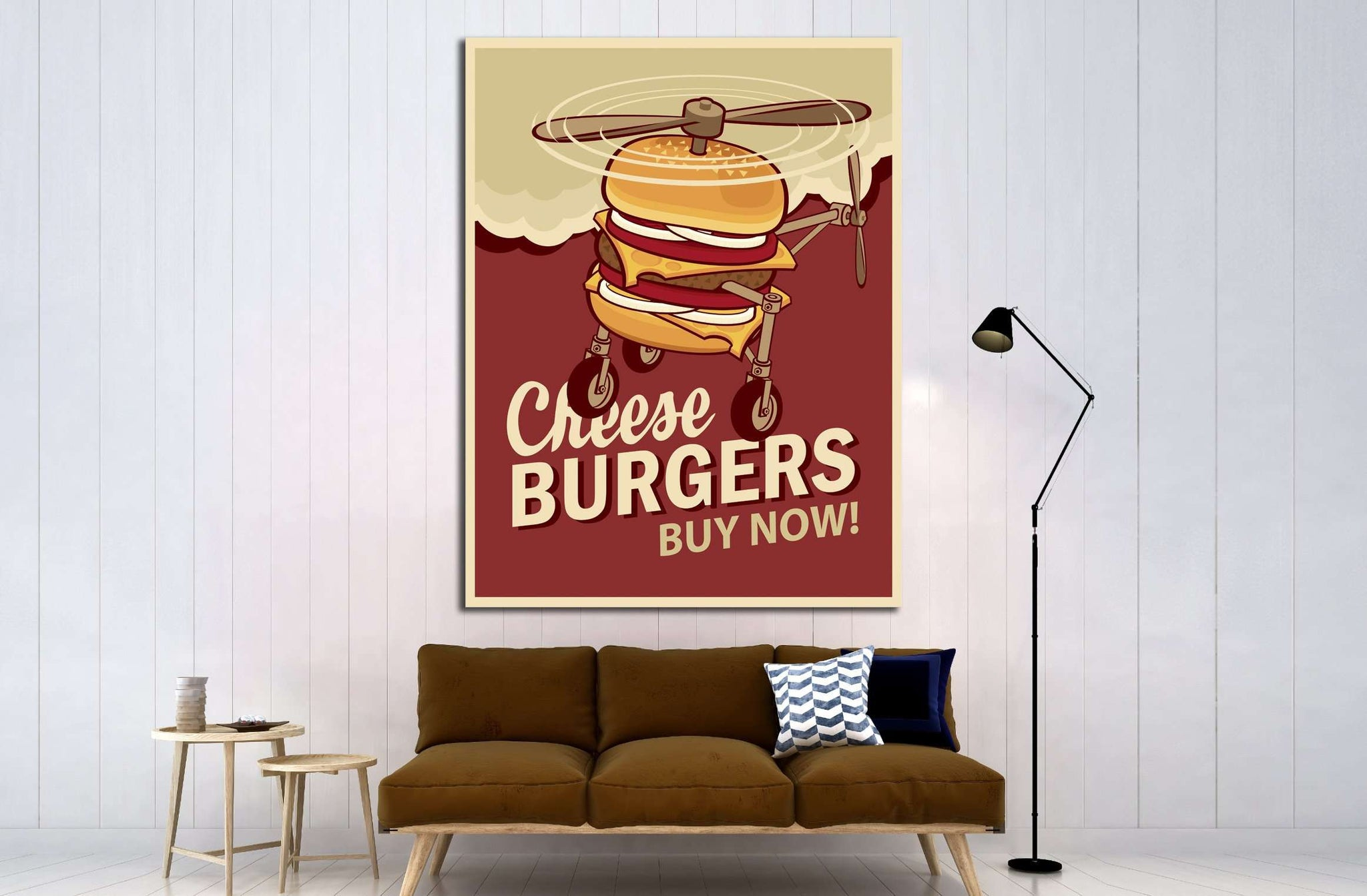 Big Burger On Wheels №4522 Ready to Hang Canvas Print