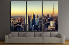 Big futuristic city at colorful sunset. Fantastic skyline of Dubai, UAE №3046 Ready to Hang Canvas Print