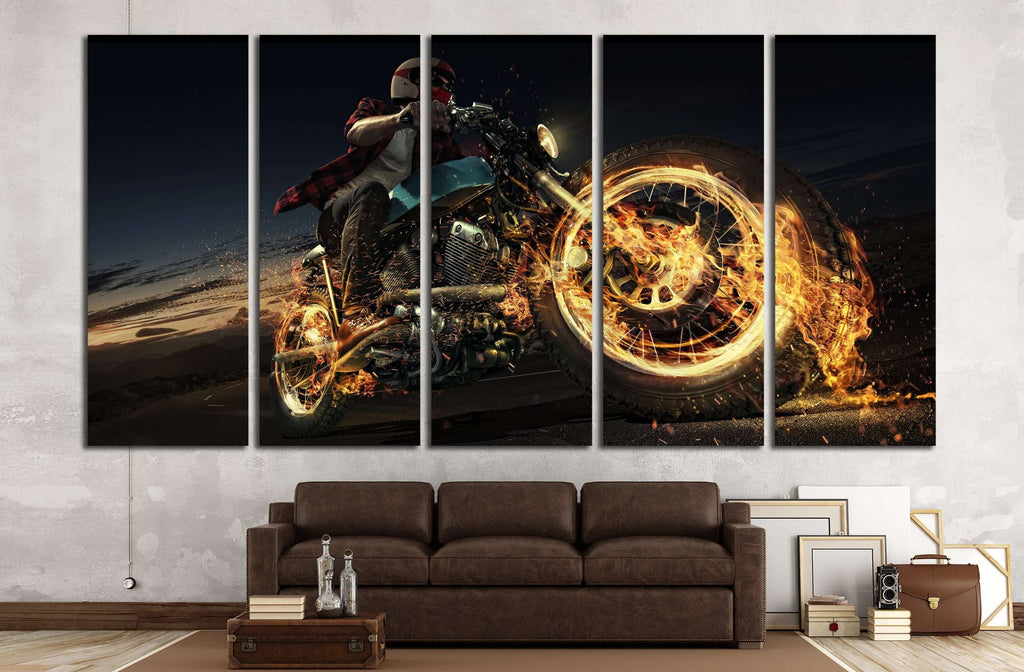 Biker riding motorcycle on an empty road at the night. Fire and energy №1879 Ready to Hang Canvas Print