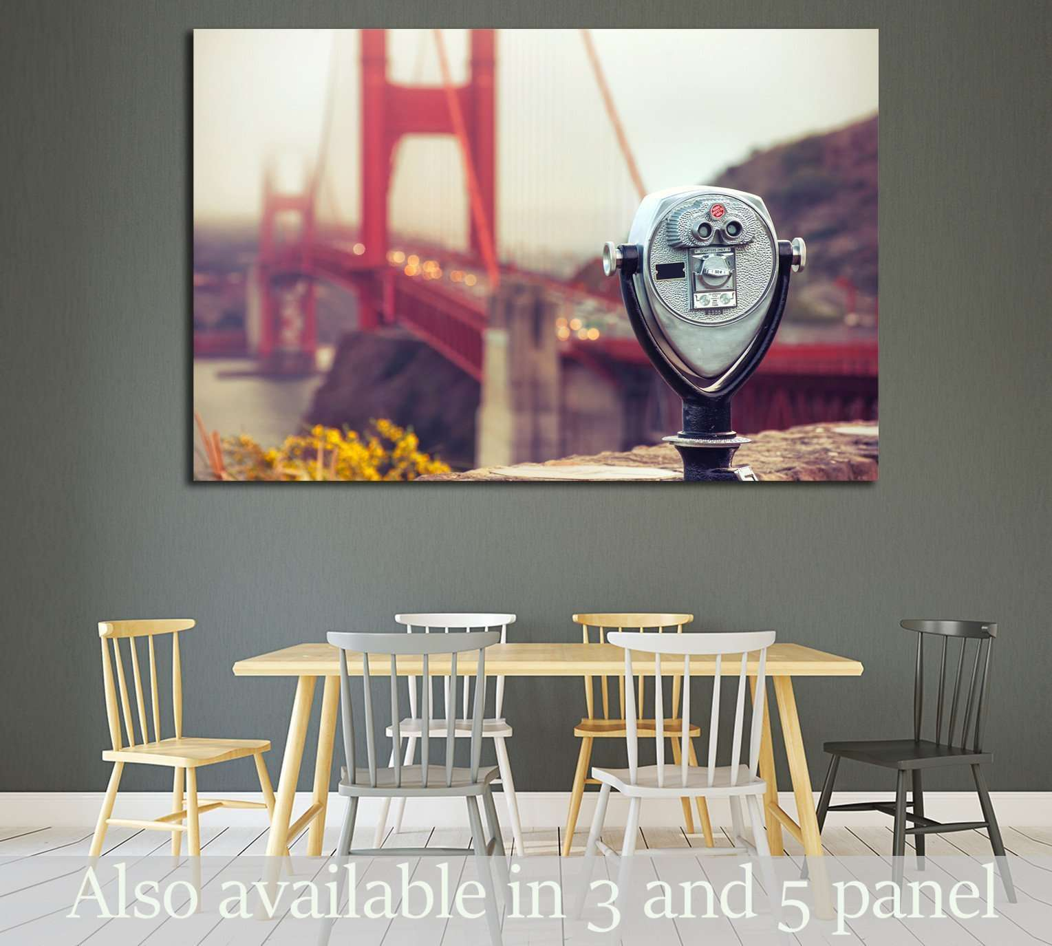 binocular - golden gate. Cross processing №1938 Ready to Hang Canvas Print