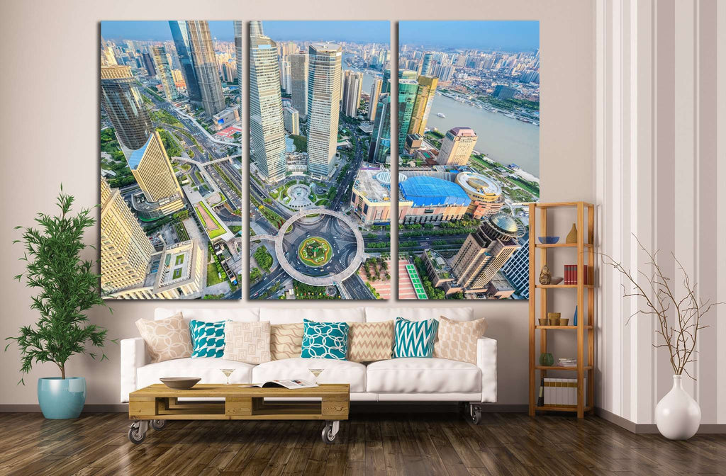 bird's eye view of shanghai, China №1171 Ready to Hang Canvas Print