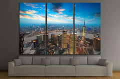 bird's eye view of shanghai in sunset №2247 Ready to Hang Canvas Print