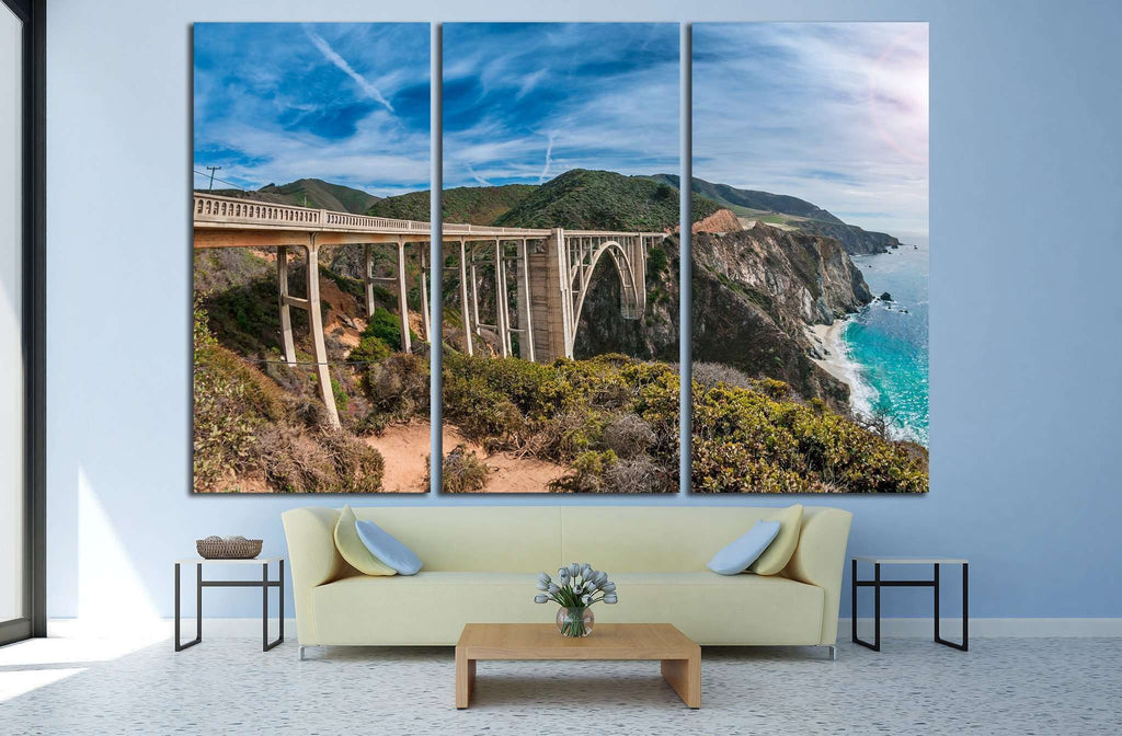Bixby Bridge on Pacific Coast Highway, California №1978 Ready to Hang Canvas Print