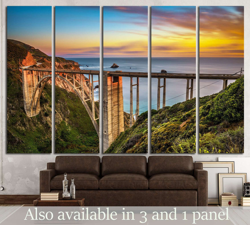 Bixby Bridge (Rocky Creek Bridge) California, USA №1301 Ready to Hang Canvas Print