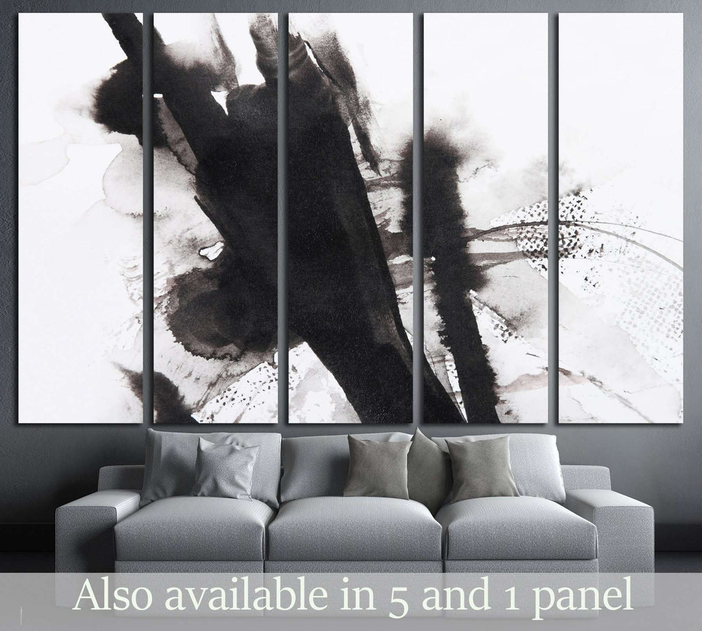 black and white abstract brush painting №3062 Ready to Hang Canvas Print