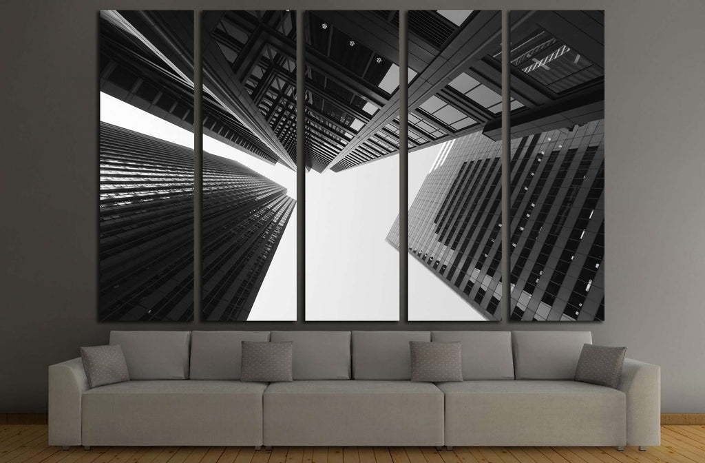 Black and white abstract upward view of downtown skyscrapers №2897 Ready to Hang Canvas Print