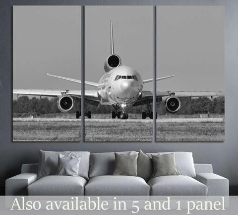 Black and White Airplane №144 Ready to Hang Canvas Print