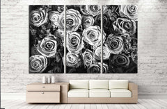Black and white background of flowers roses №2840 Ready to Hang Canvas Print
