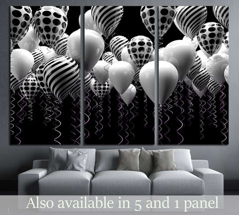 black and white balloons background №3264 Ready to Hang Canvas Print