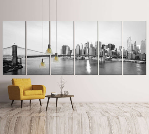 Black and White Extra Large New York №39 Ready to Hang Canvas Print