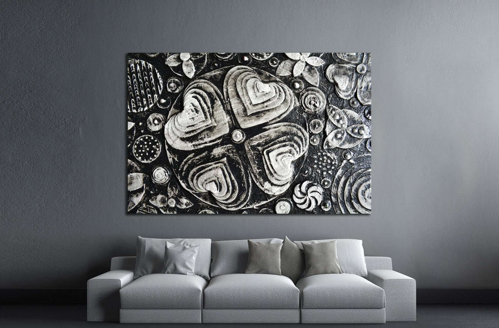 Black and white grunge flowers painting №1350 Ready to Hang Canvas Print