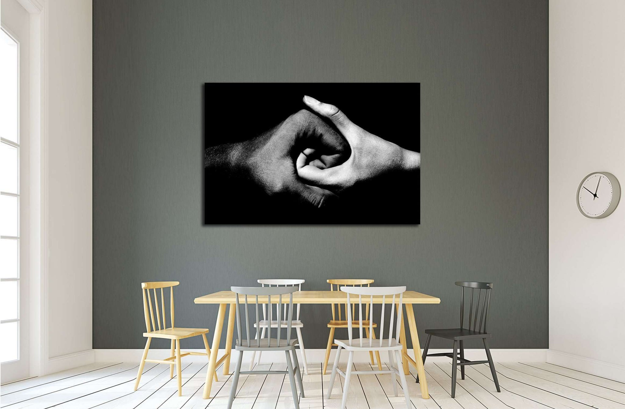 black and white hands holding together №2777 Ready to Hang Canvas Print
