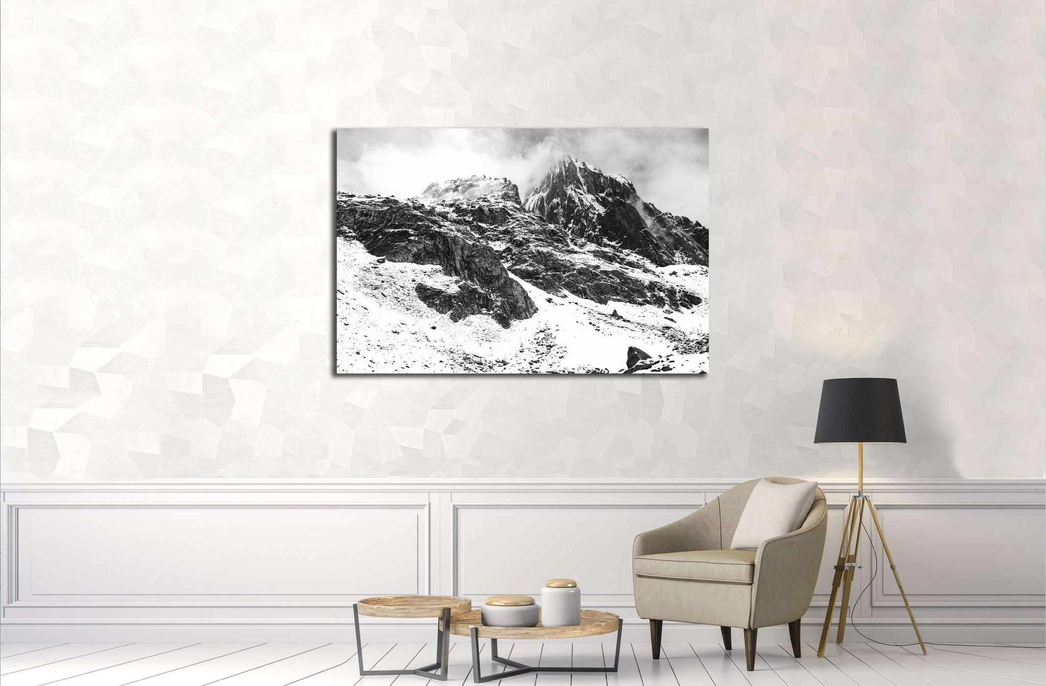 Black and White Himalayan scene from Pakistan №3117 Ready to Hang Canvas Print