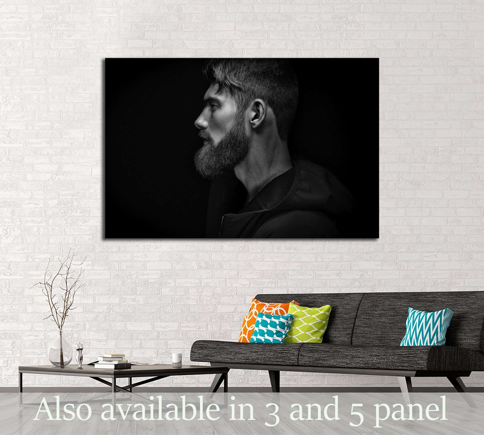 Black and white image of single standing in profile young handsome man №2761 Ready to Hang Canvas Print