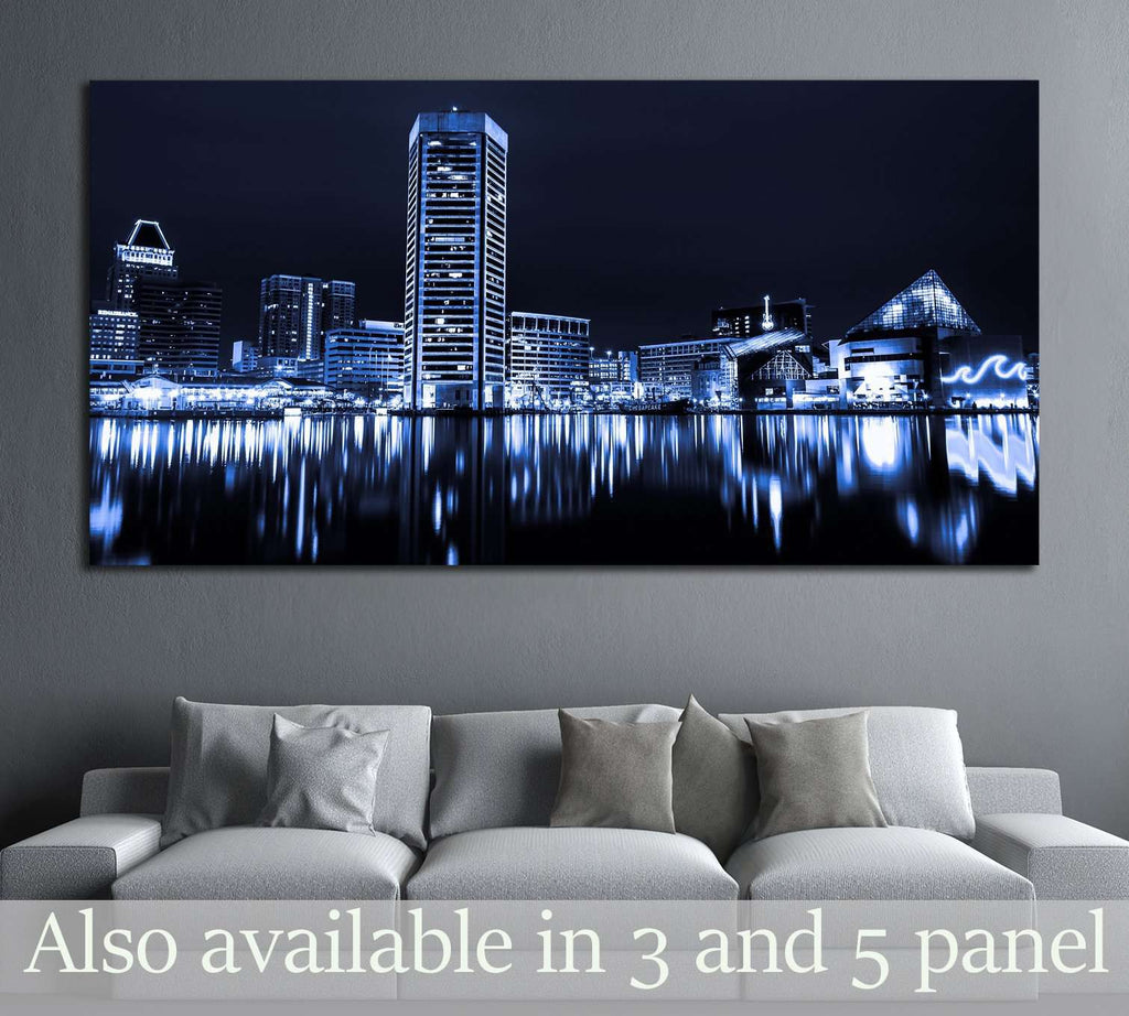Black and white image of the Baltimore Inner Harbor Skyline at night №2151 Ready to Hang Canvas Print