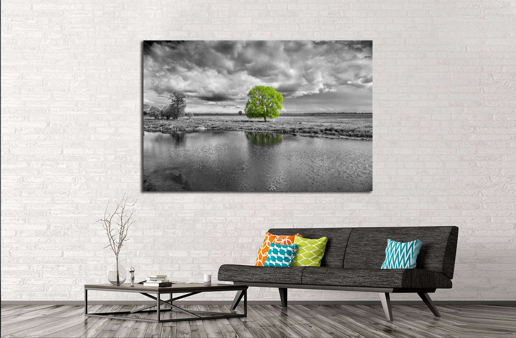 black and white landscape and green tree №2678 Ready to Hang Canvas Print
