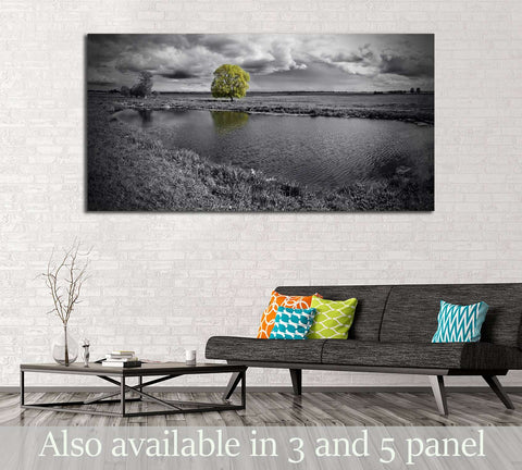black and white landscape and green tree №2676 Ready to Hang Canvas Print