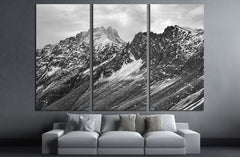 Black and white mountain landscape №3200 Ready to Hang Canvas Print