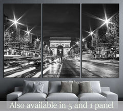 Black and White Paris Evening traffic on Champs-Elysees in front of Arc de Triomphe №2650 Ready to Hang Canvas Print