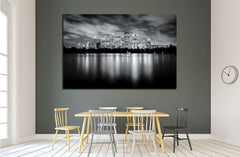 Black and white photo of skyscrapers at night, Sydney Australia №1756 Ready to Hang Canvas Print