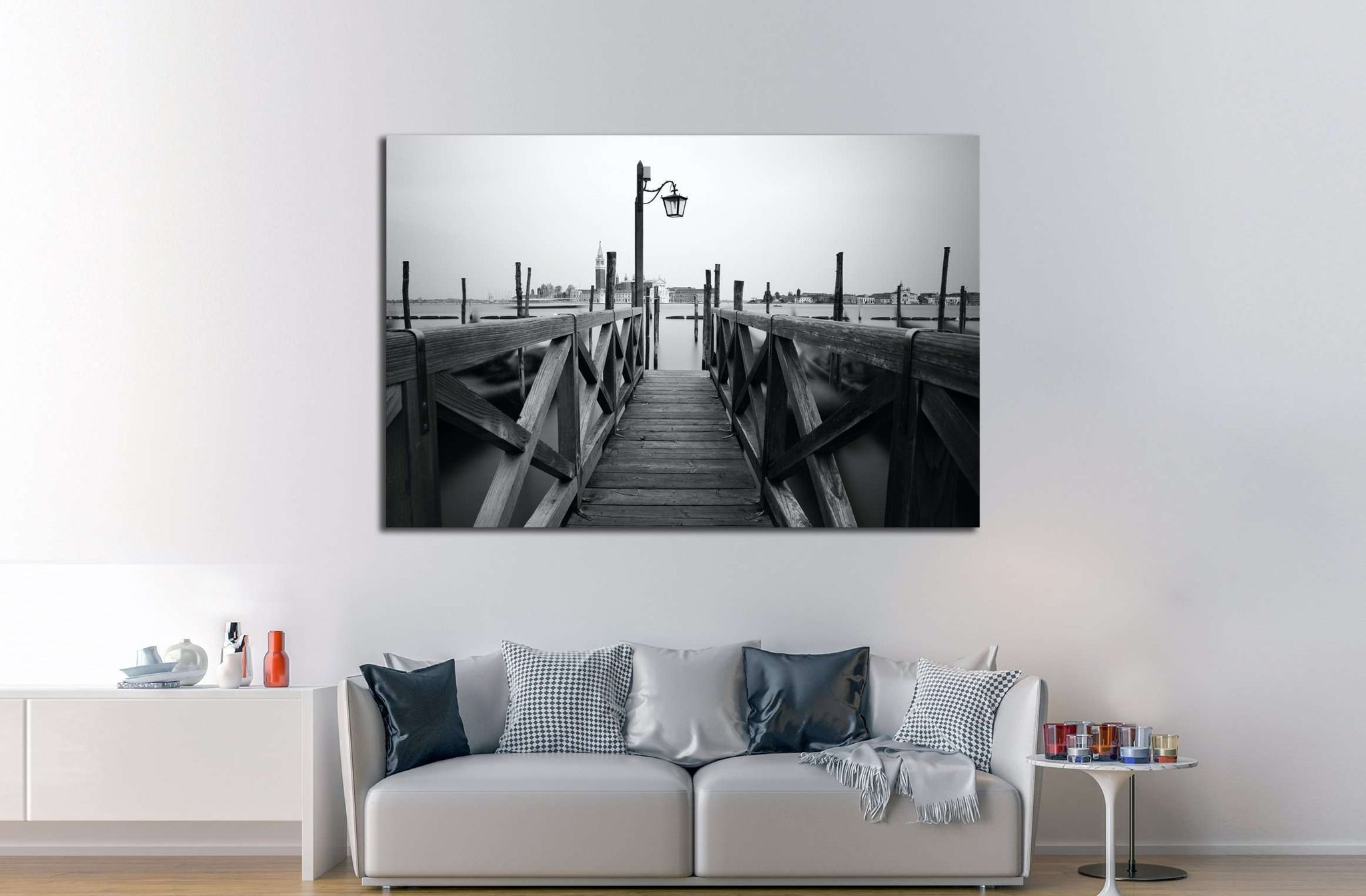 Black and white photo of Venice seafront. Venice, Italy №2928 Ready to Hang Canvas Print