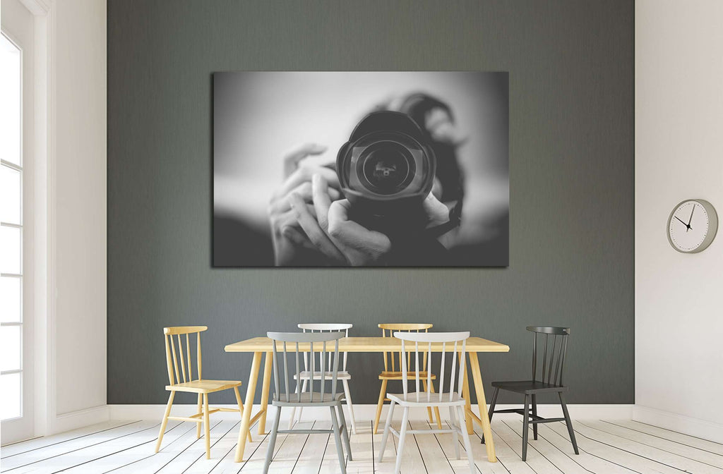 Black and White Photographer Man with a Fisheye Lens №2776 Ready to Hang Canvas Print