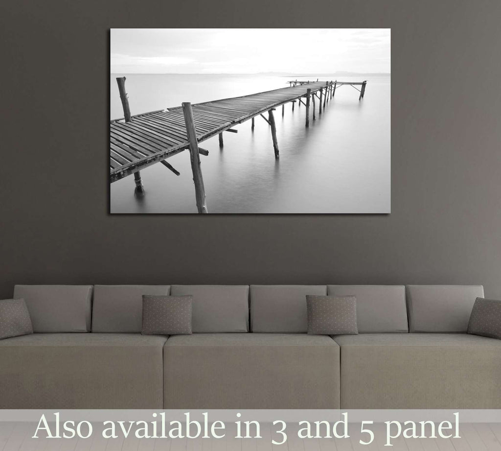 black and white picture of old bridge to the sea. №2672 Ready to Hang Canvas Print