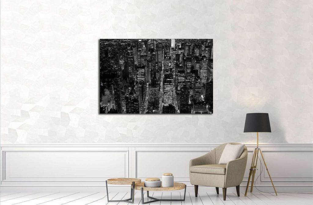 black and white scene of new york city skyline cityscape background №3047 Ready to Hang Canvas Print