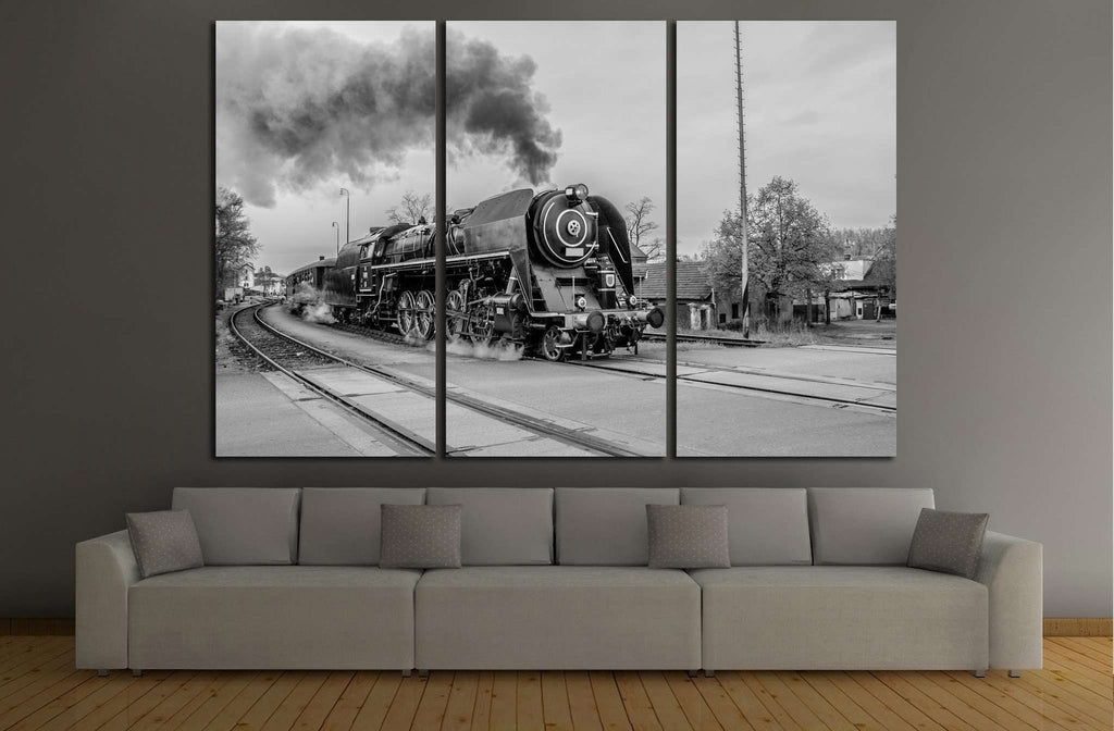 Black and White Train №233 Ready to Hang Canvas Print