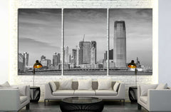 Black and white view of Jersey City skyline №1709 Ready to Hang Canvas Print
