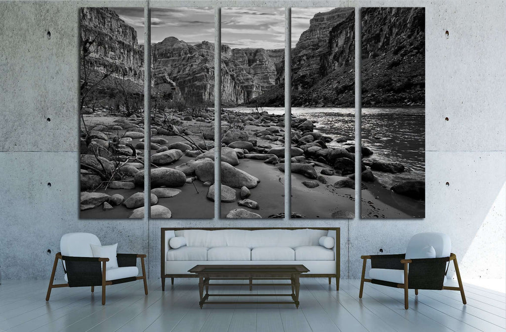 Black and white view of the Grand Canyon from the Colorado River №2936 Ready to Hang Canvas Print