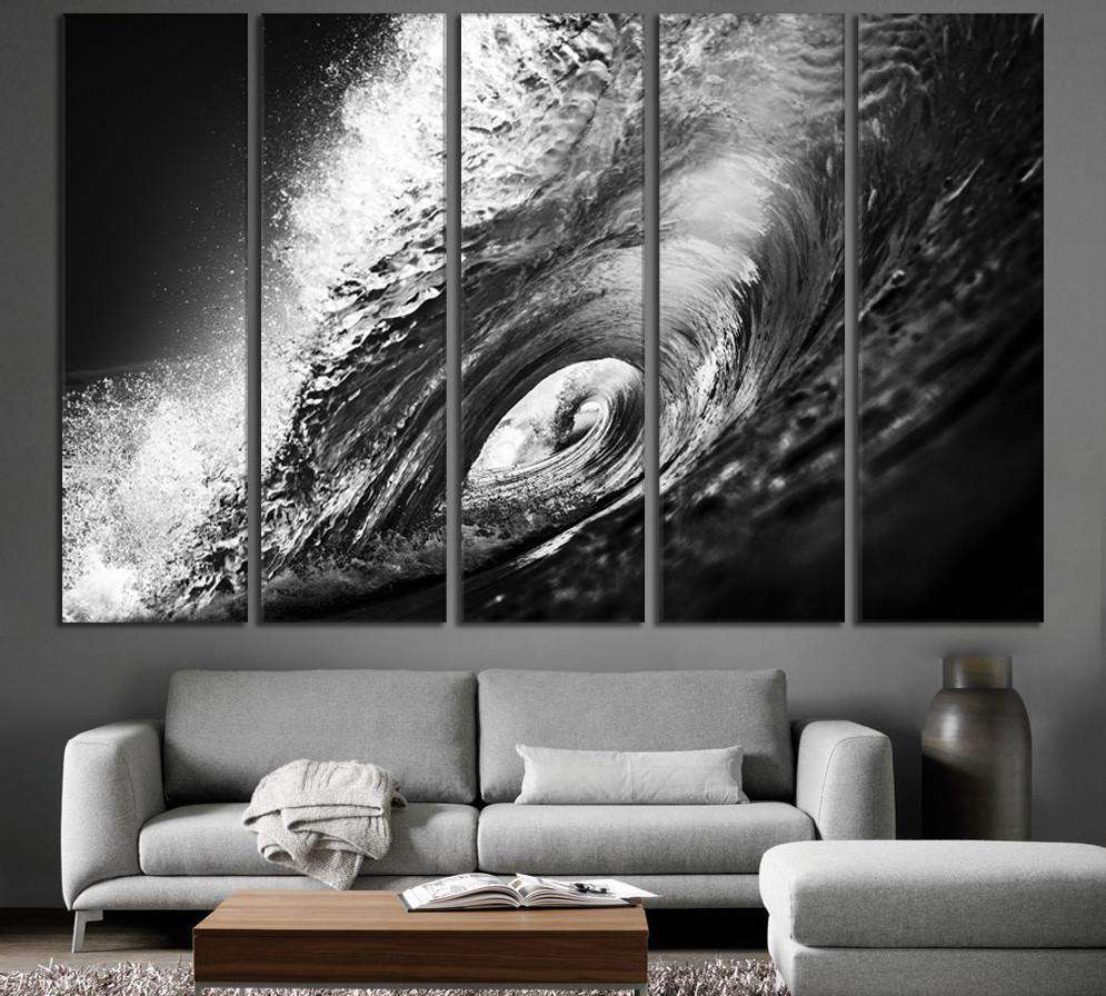 Black and White Wave №777 Ready to Hang Canvas Print