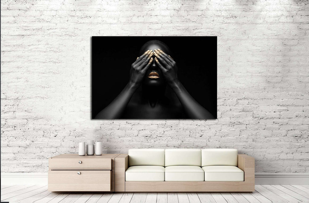 black girl with golden lips and the gold on the tips of the fingers №2467 Ready to Hang Canvas Print