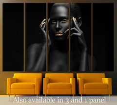 black girl with golden lips and the gold on the tips of the fingers №2468 Ready to Hang Canvas Print