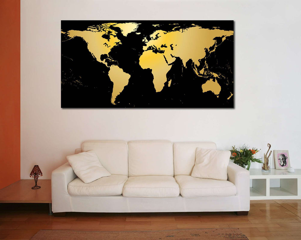 Black Gold World Map Ready To Hang Canvas Print Canvas Print - Black and gold world map
