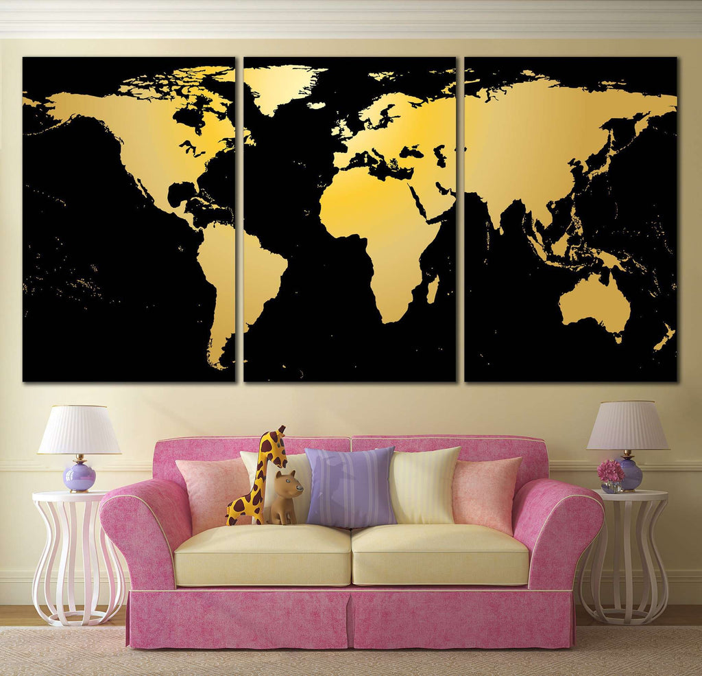 Black gold world map 860 ready to hang canvas print canvas print black gold world map 860 ready to hang canvas print gumiabroncs Gallery