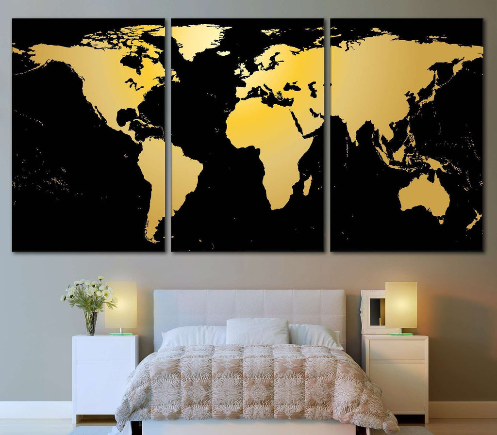 Black gold world map 860 canvas print canvas print zellart black gold world map 860 canvas print gumiabroncs Image collections