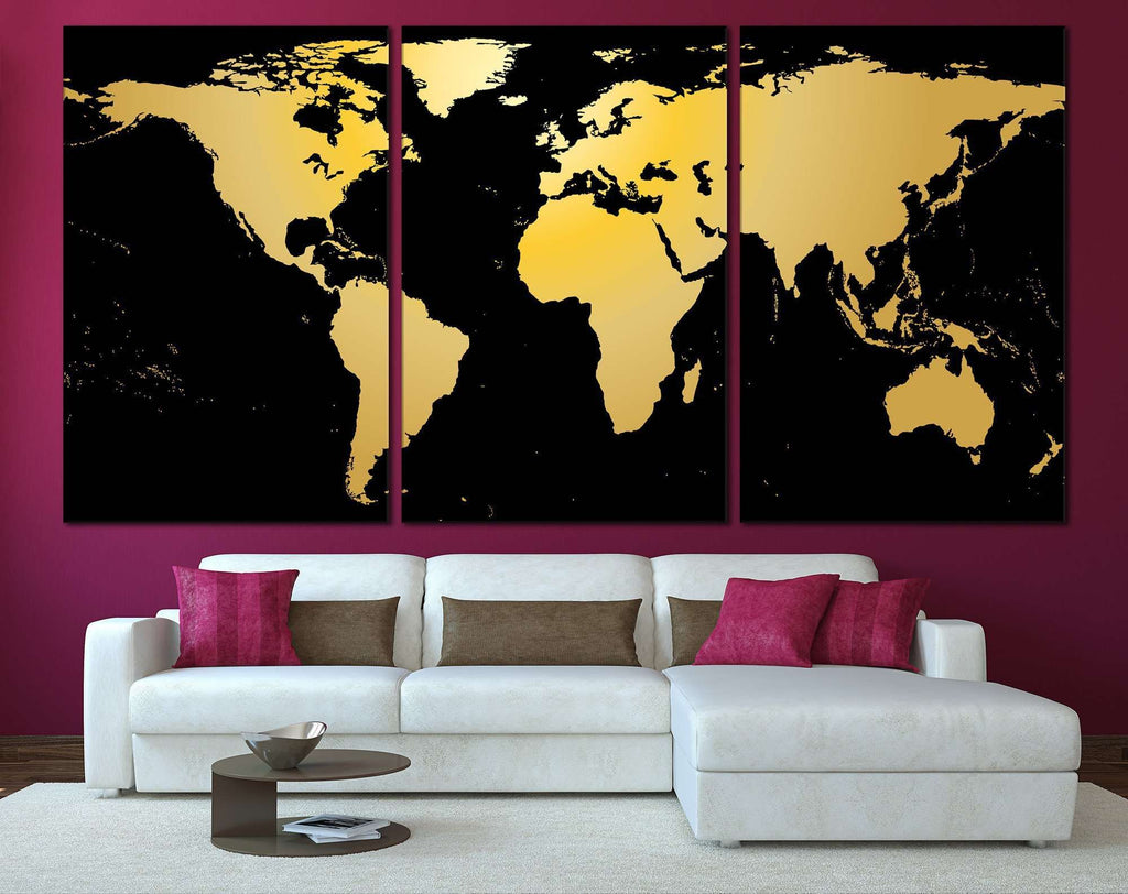 Black gold world map 860 ready to hang canvas print canvas print black gold world map 860 ready to hang canvas print gumiabroncs Images