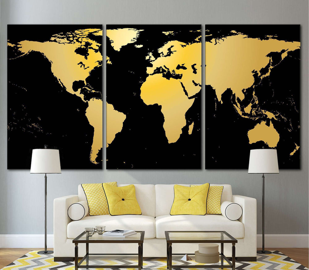 Black / Gold World Map №860 Framed Canvas Print Canvas Print ...