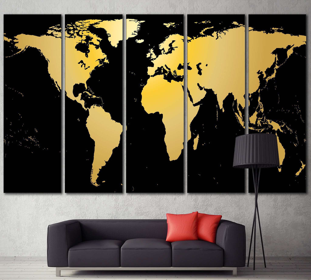 Black / Gold World Map №860 Ready to Hang Canvas Print