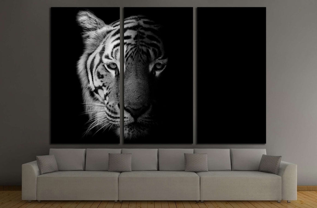 Black & White Beautiful tiger - isolated on black background №2371 Ready to Hang Canvas Print