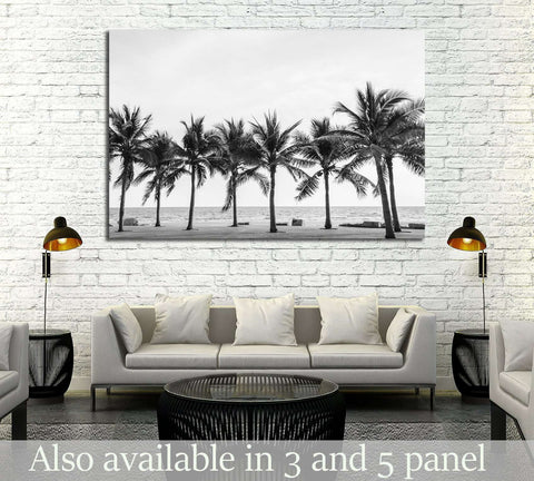 Black & White view of Beautiful beach with palms, Thailand №2848 Ready to Hang Canvas Print